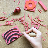 Intro to Rubber Block Printing with Hannah Hazel. Sunday, March 18th 1-3:30pm.