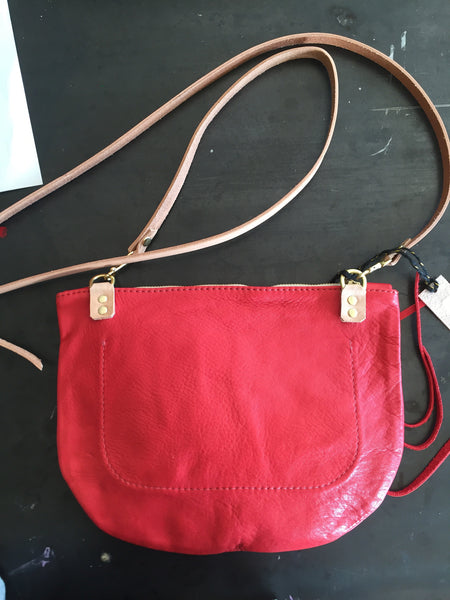 Small red leather cross body
