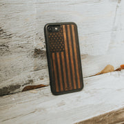 Real wood American Flag iPhone case