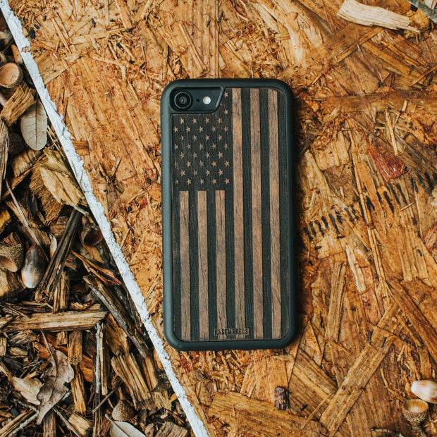 Real wood American Flag Samsung Case