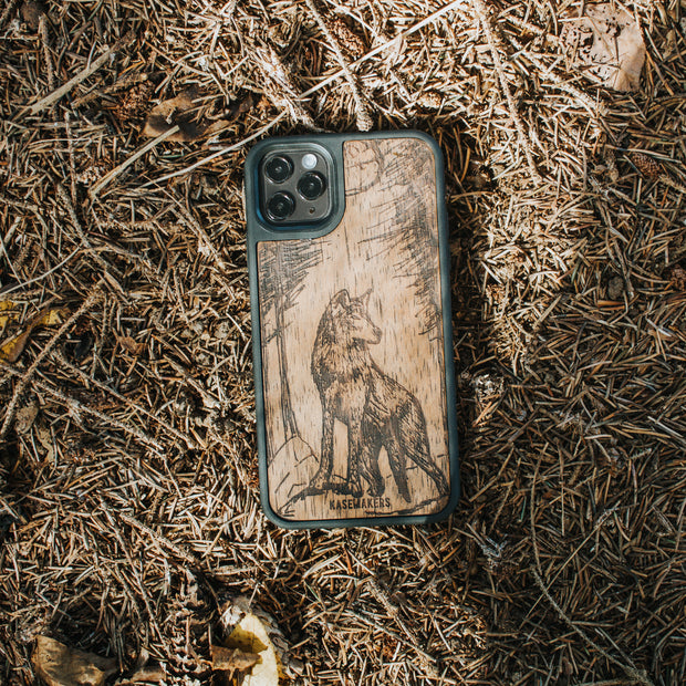 Real Wood Wolf Samsung phone Case