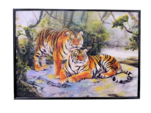 Two Tigers Wall Plaque 3D