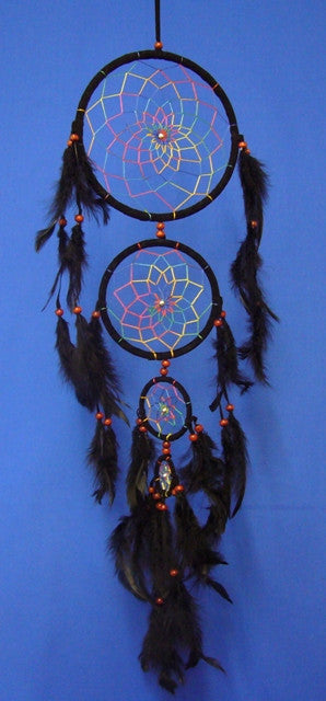 Large Black Dream Catcher with 4 Drops
