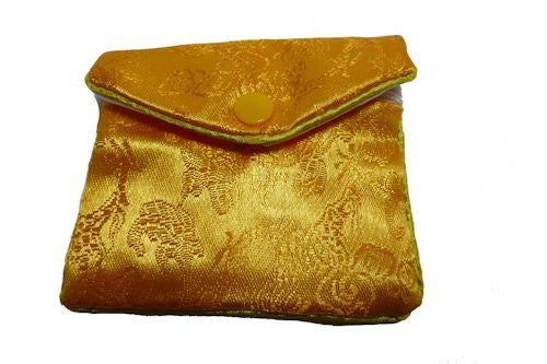 Chinese Purse -  yellow swirl and flower medium