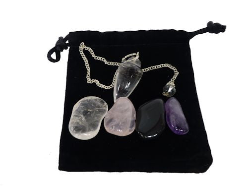 Starter Pack Clear Quartz Crystal Pendulum