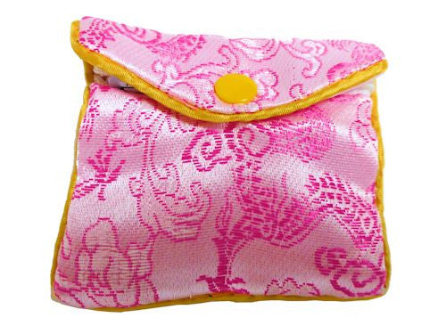 Chinese Purse -  pink swirl and flower small