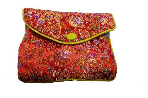 Chinese Purse - red with floral design medium