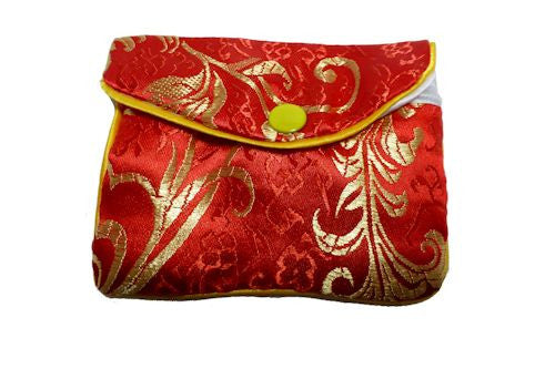 Chinese Purse - red leaf design medium