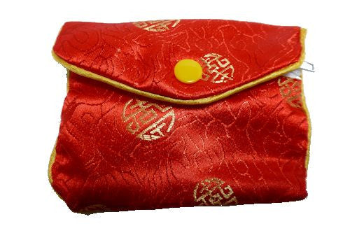 Chinese Purse - red with symbols medium