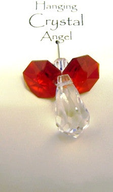 hanging crystal angel red