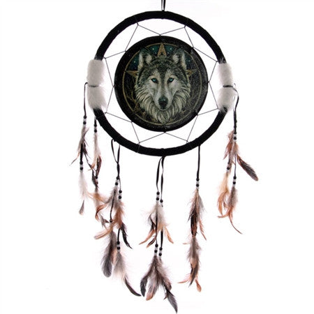 Wolf Face Dream Catcher by Lisa Parker