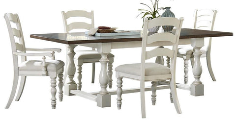 Hillsdale Furniture 5265DTBTCL Pine Island 5 PC Trestle Dining Set with Ladder Back Chairs - HillsdaleSuperStore