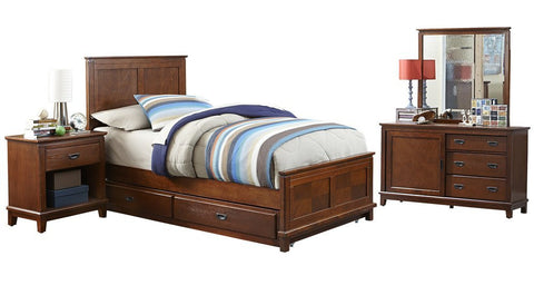 Hillsdale Furniture 1836BTWRT4PC Bailey Panel Bed - Twin, Trundle, Dresser, Mirror, Night Stand - HillsdaleSuperStore