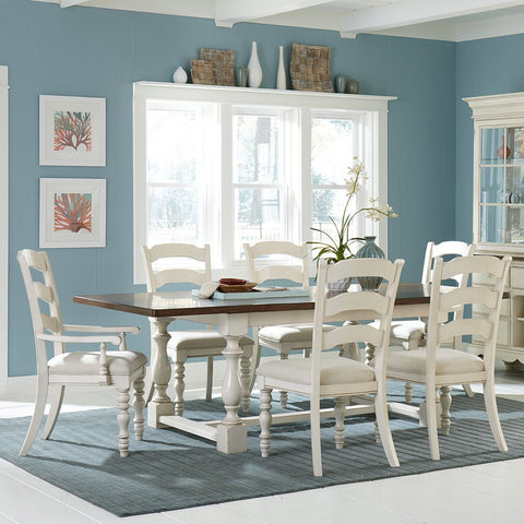 Hillsdale Furniture 5265DTBTCL7 Pine Island 7 PC Trestle Dining Set with Ladder Back Chairs - HillsdaleSuperStore