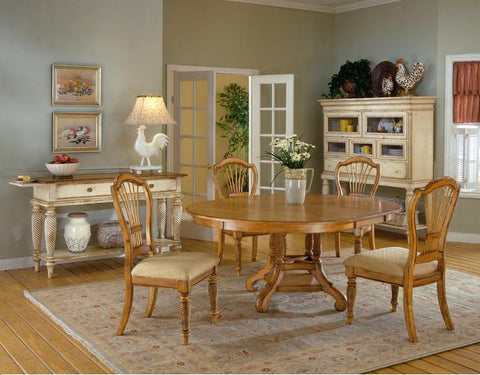 Hillsdale Wilshire 7 Piece Antique Pine Round Dining Table Set 4507DTBRNDC7 - HillsdaleSuperStore