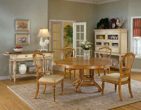 Hillsdale Wilshire 5 Piece Antique Pine Round Dining Table Set 4507DTBRNDC5 - HillsdaleSuperStore