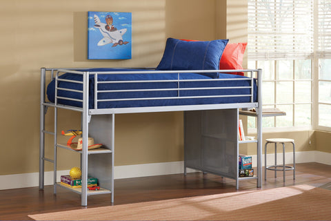 Hillsdale 1178JRLBDS Universal Junior Loft Bed w/Cloth Doors, Desk, and Stool - HillsdaleSuperStore
