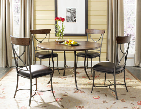 Hillsdale 4671DTBC2 Cameron 5-Piece Round, All Metal Base w/Wood Top and X Back Chairs - HillsdaleSuperStore