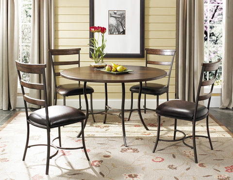 Hillsdale 4671DTBC5 Cameron 5-Piece Round All Metal Base w/Wood Top and Ladder Back Chairs - HillsdaleSuperStore