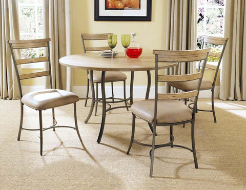 Hillsdale 4670DTBC5 Charleston 5-Piece Round All Metal Base w/Wood Top and Ladder Back Chair - HillsdaleSuperStore