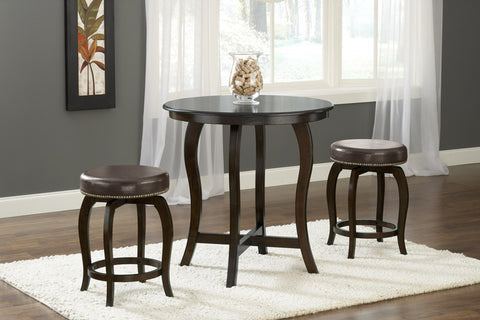 Hillsdale 4933CTBC3BR Wilmington 3-Piece Counter Height Pub Set - Brown Vinyl Seat - HillsdaleSuperStore