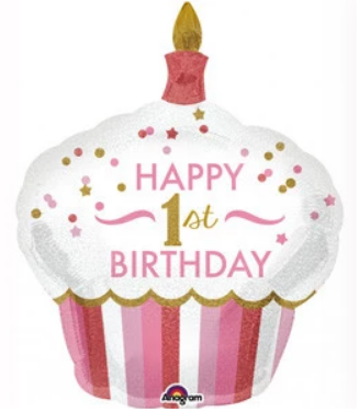 1ST BIRTHDAY CUPCAKE GIRL SUPERSHAPE HOLO BALLOON