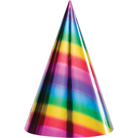 HAT CONE 12/8CT RAINBOW FOIL BDAY