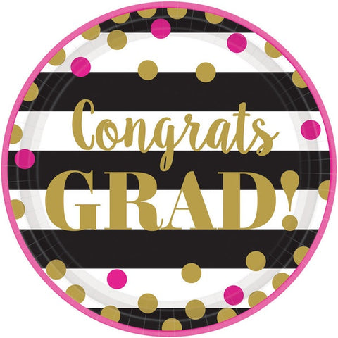 Graduation Confetti Gold 10.5In Plate Midcount
