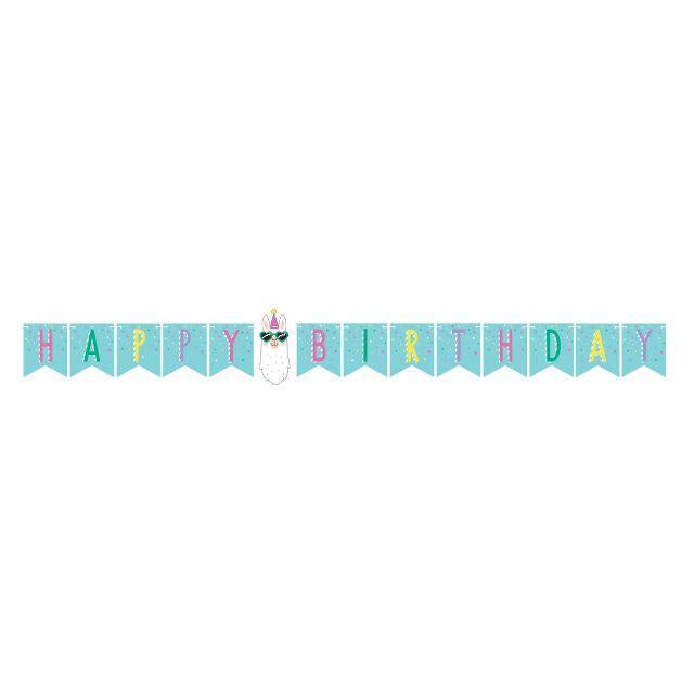Shaped Banner With Twine, Happy Birthday Bnr Shp 6/1Ct W/Tw Hbd Llama Party 339585 9