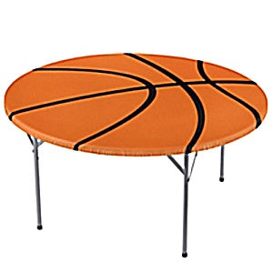 BASKETBALL ROUND PLASTIC TABLECOVER WITH ELASTIC EDGE