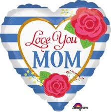 "LOVE YOU MOM - HEART 18"" INCHES"