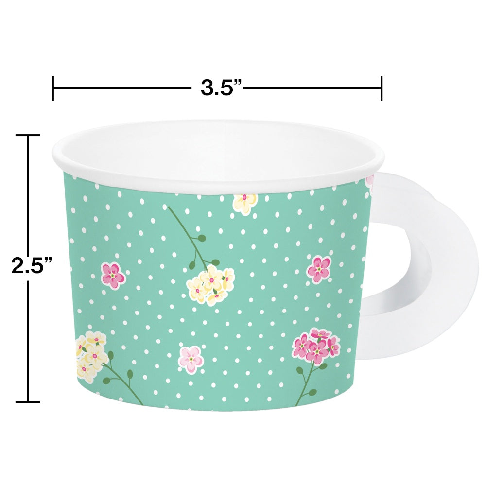 TRT CUPS HNDL 12/8CT ASST FLORAL TEA PARTY