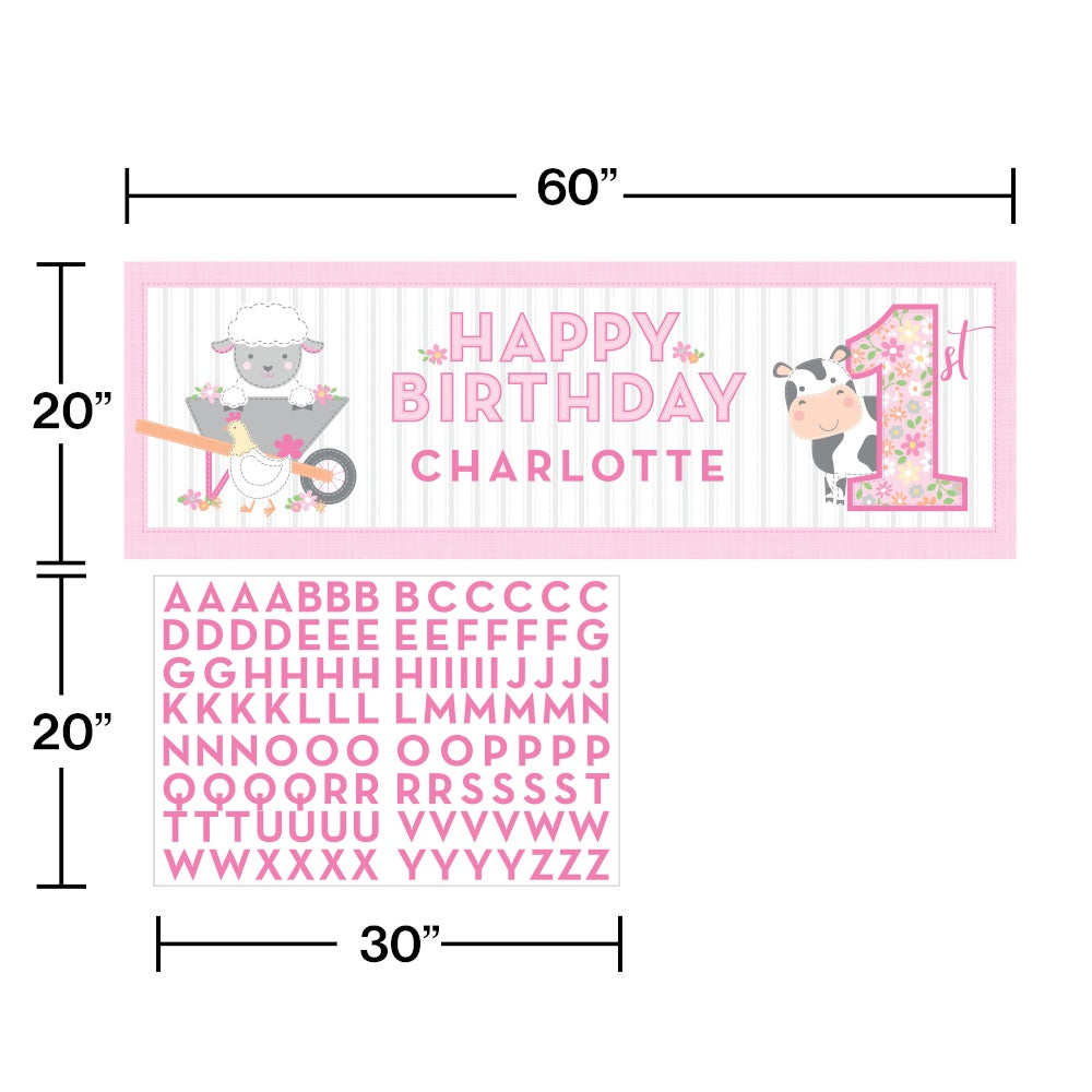 Giant Party Banner With Stickers Bnr Gnt Pty 6/1Ct Frmhs 1St Bday Grl