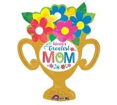P35 Greatest Mom Trophy Cup Supershape Foil Balloon