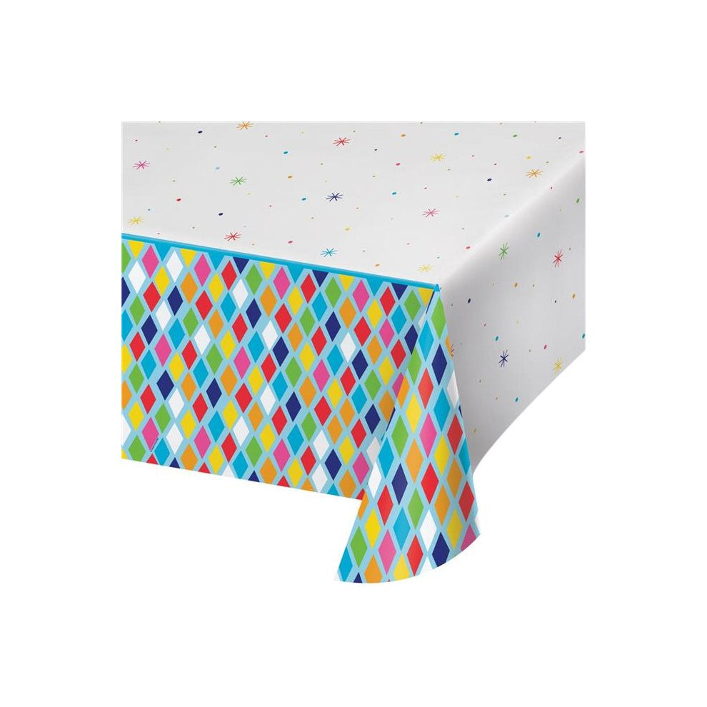 "Plastic Tablecover All Over Print, 54"" X 102"" Tc Pl Aop 6/1Ct 54X102 Bright Birthday"