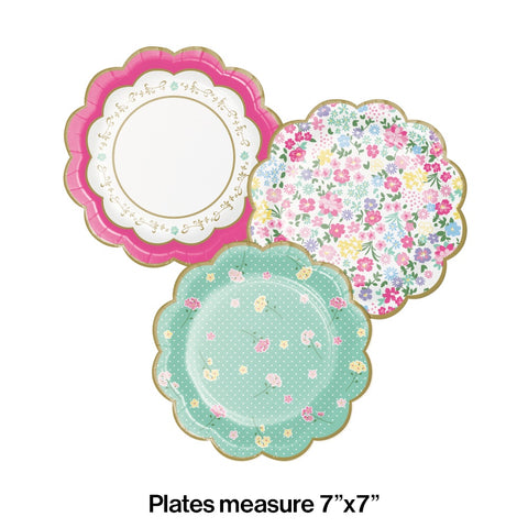 PLT7 12/8CT SHP ASST FLORAL TEA PARTY