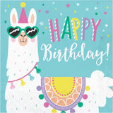 Luncheon Napkin, Happy Birthday Ln 12/16Ct 2P Llama Party Hbd 339580 2