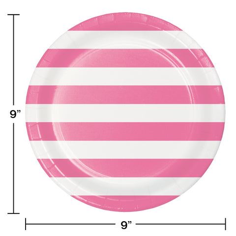 PLT9 12/8CT DOTS & STRIPES CANDY PINK