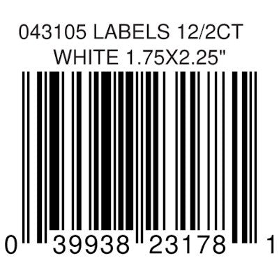 LABELS 12/2CT WHITE 1.75X2.25""