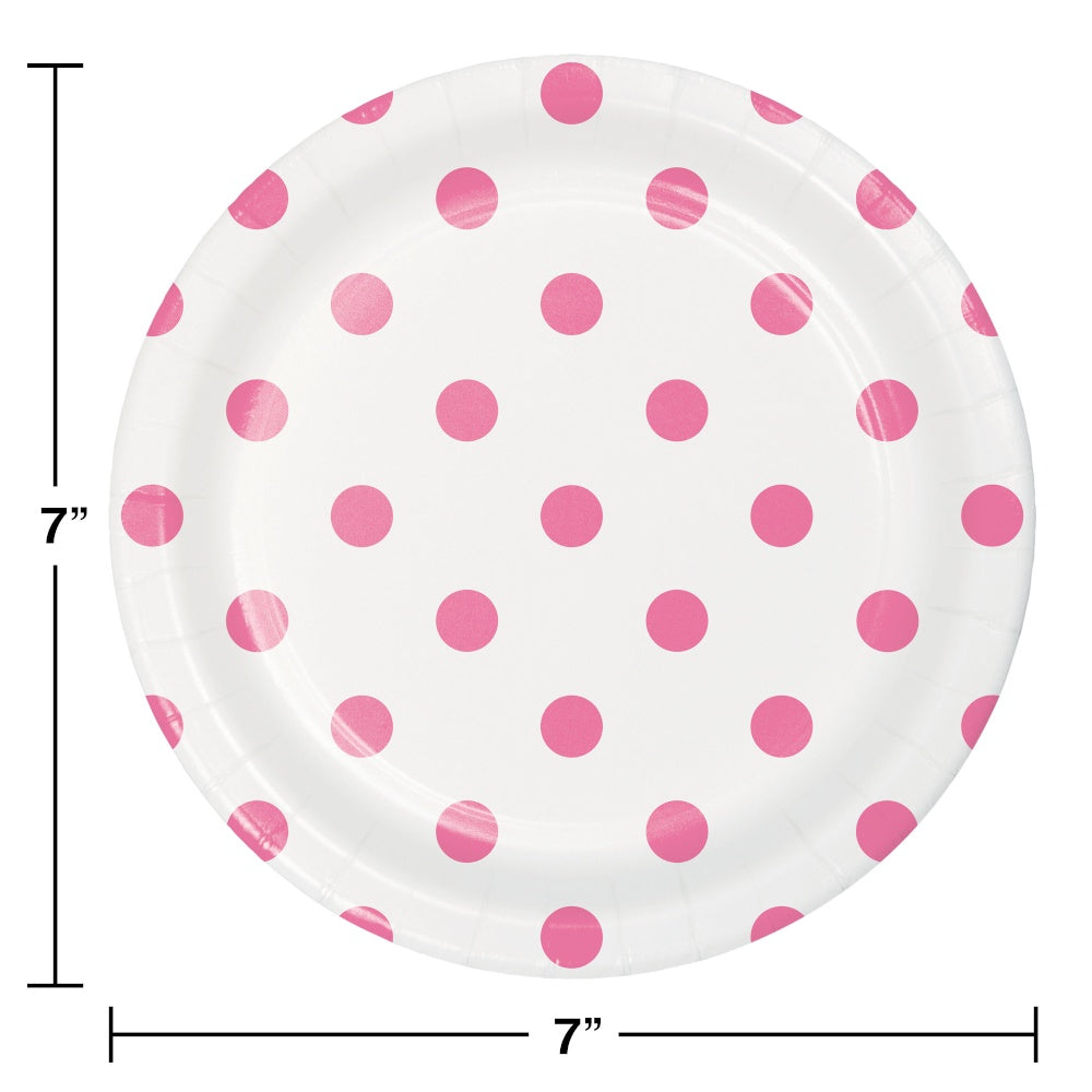 PLT7 12/8CT DOTS & STRIPES CANDY PINK