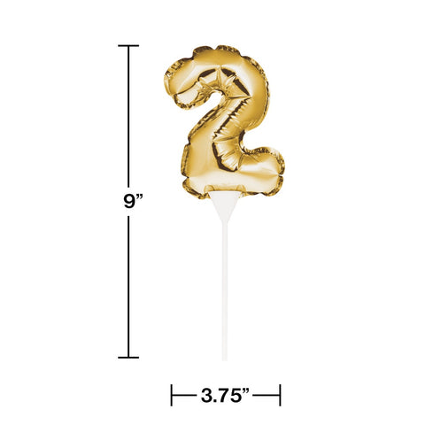 BLN CAKE TOPPER 12/1CT 2 GOLD
