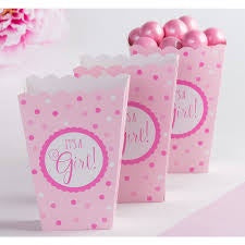 ITS A GIRL PINK PAPER POPCORN BOXES