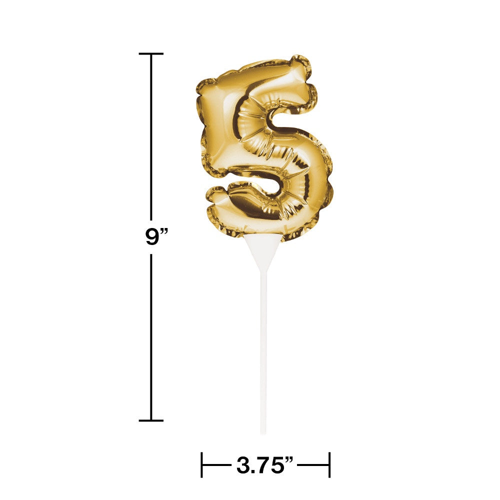 BLN CAKE TOPPER 12/1CT 5 GOLD