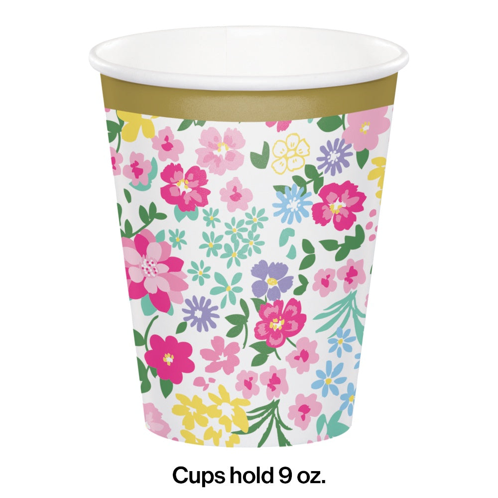 9CUP 12/8CT FLORAL TEA PARTY