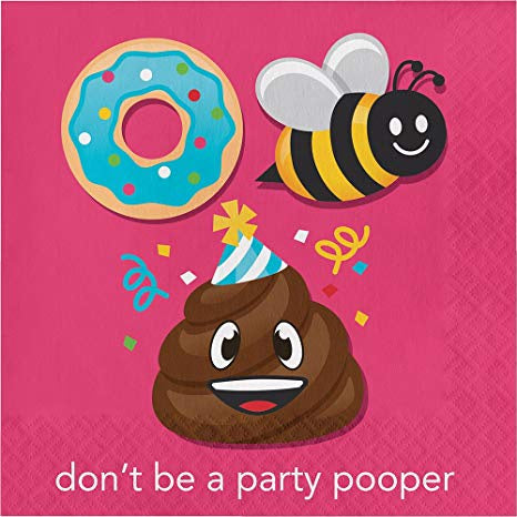 Luncheon Napkin, Don'T Be A Party Pooper Ln 12/16Ct 2P Show Your Emojions, Party Pooper