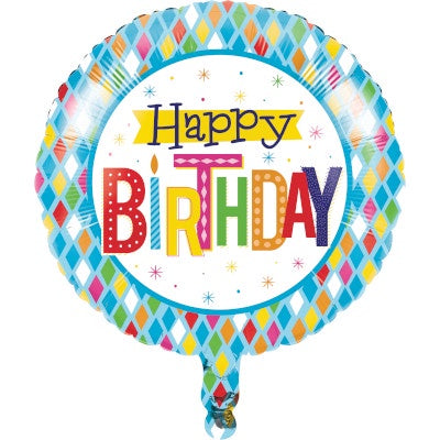 "Metallic Balloon 18"" Bln Met 10/1Ct 18"" Bright Birthday"