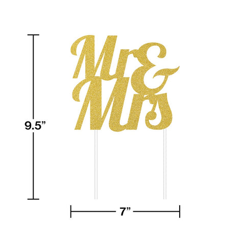 CAKE TOPPER 12/1 GOLD MR & MRS GLITTER [335052]