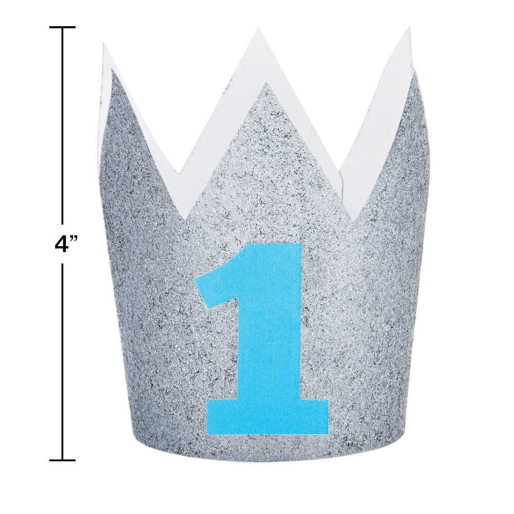 HAT CROWN MINI 6/1 BLUE GLITTER