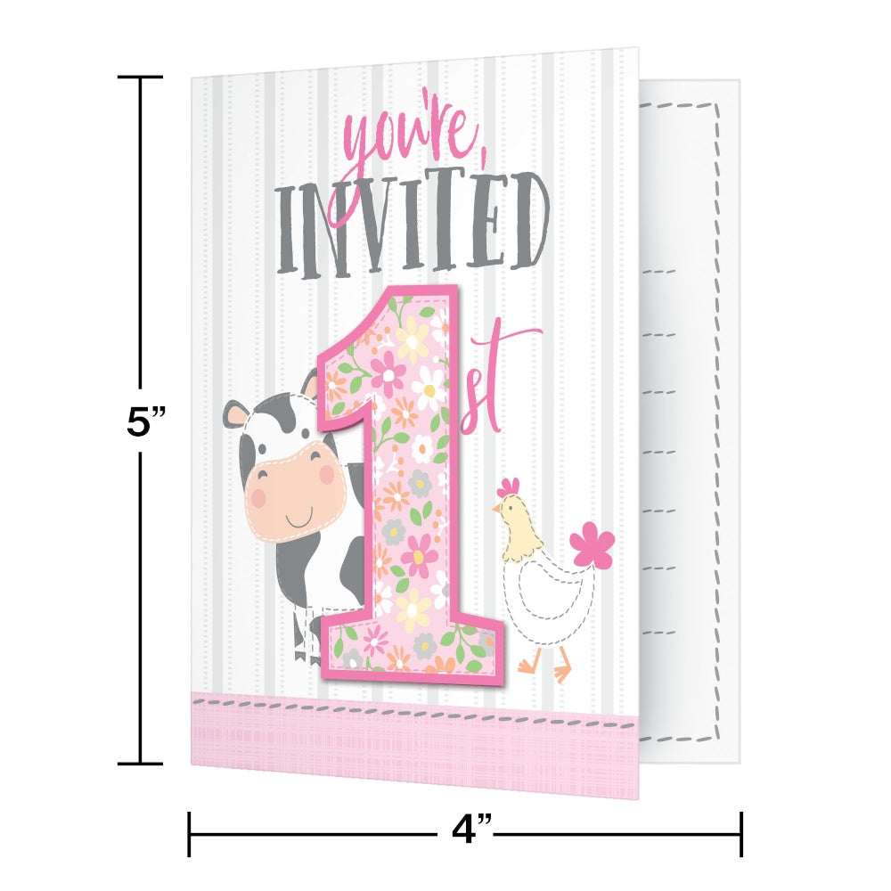Invitation Foldover With Attachment Inv Fld 6/8Ct Frmhs 1St Bday Grl