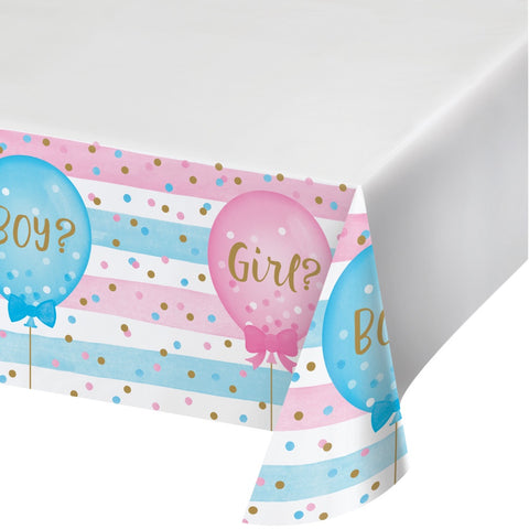 "Plastic Tablecover Border Print, 54"" X 102"" Tc Pl Brd 6/1Ct 54X102 Gender Reveal Blns"